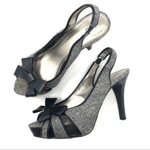 Cato Gray Tweed Bow Slingback Platform Heels